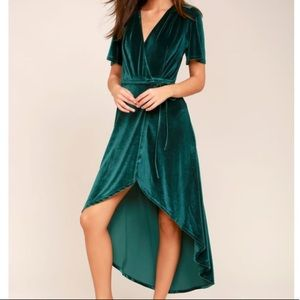 Amour Velvet High-Low Wrap Dress